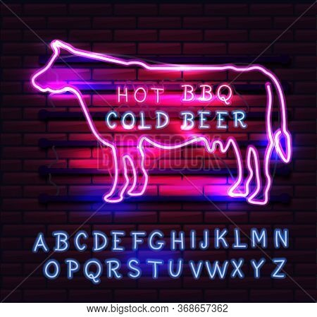 Red And Pink Neon Bbq Cow Sign On A Brick Background . Bbq Of Neon-style.