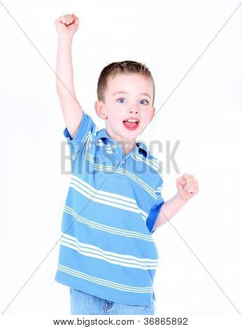 Excited Boy With Arm In The Air