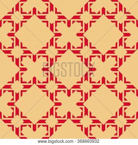 Vector Abstract Geometric Seamless Pattern In Asian Style. Elegant Ornament In Red And Yellow Color.