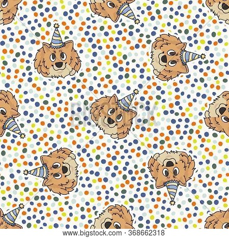 Hand Drawn Cute Pomeranian Dog Face With Party Hat Seamless Vector Pattern. Purebred Pedigree Domest