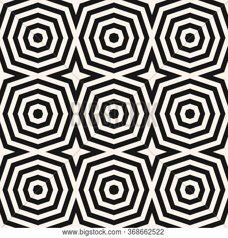 Optical Art Pattern. Vector Geometric Seamless Ornament With Concentric Shapes, Stripes, Lines, Star