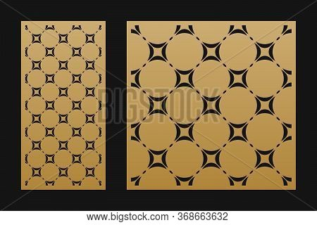Laser Cutting Decorative Panel. Vector Template With Abstract Geometric Pattern, Ornamental Circular