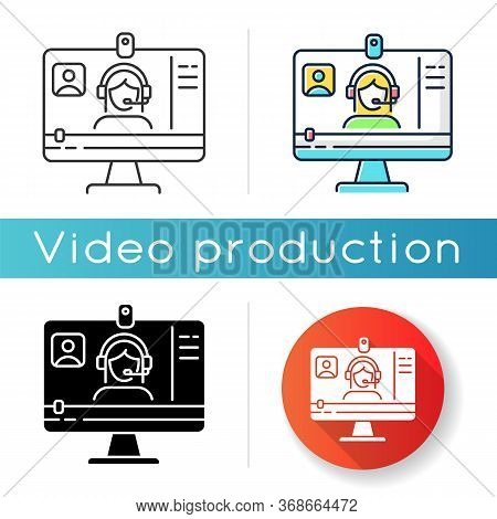 Webinar Icon. Internet Video. Blogger Streaming. Digital Content. Online Courses Watching. Distance
