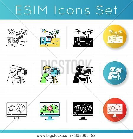 Filmmaking And Videography Icons Set. Travel Internet Blog. Nature Documentary Movie. Professional C