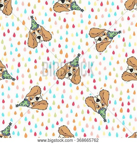 Hand Drawn Cute Cocker Spaniel Dog Face With Party Hat Breed Seamless Vector Pattern. Purebred Pedig