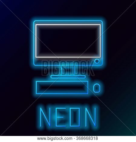 Glowing Neon Line Computer Monitor With Keyboard And Mouse Icon Isolated On Black Background. Pc Com