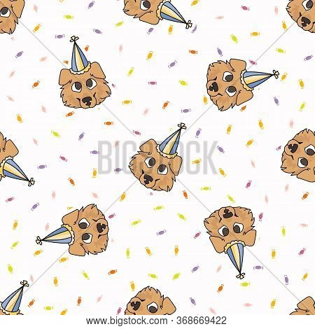 Hand Drawn Cute Rough Collie Puppy Face With Party Hat Seamless Vector Pattern. Purebred Pedigree Pu