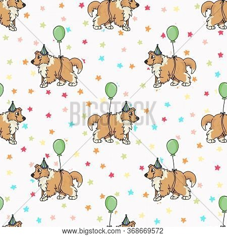 Hand Drawn Cute Rough Collie Puppy With Party Hat Seamless Vector Pattern. Purebred Pedigree Puppy C