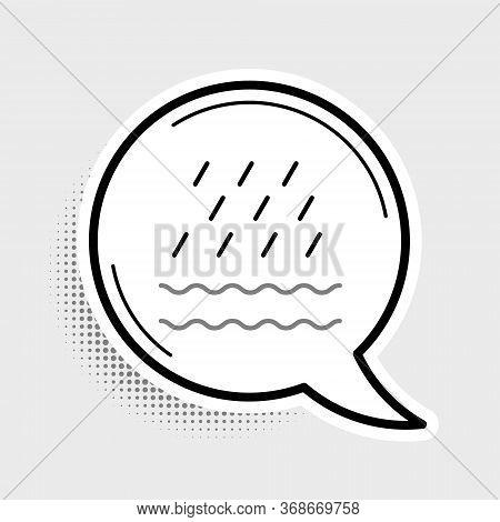 Line Rain And Waves Icon Isolated On Grey Background. Rain Cloud Precipitation With Rain Drops. Colo