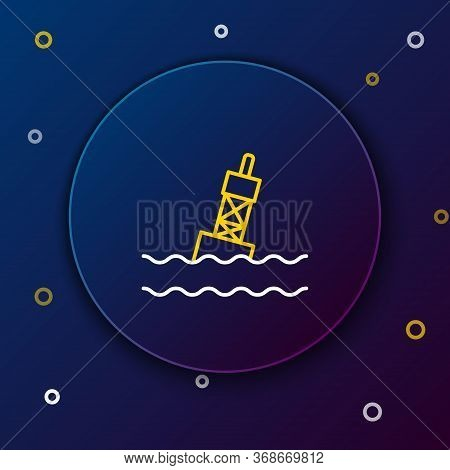 Line Floating Buoy On The Sea Icon Isolated On Blue Background. Colorful Outline Concept. Vector.