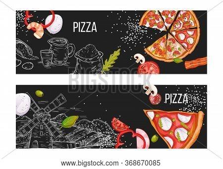 Pizza Menu Banner Set With Realistic Slices, Bacon, Tomatoes, Shrimp, Flour, Mozzarella On Engraving