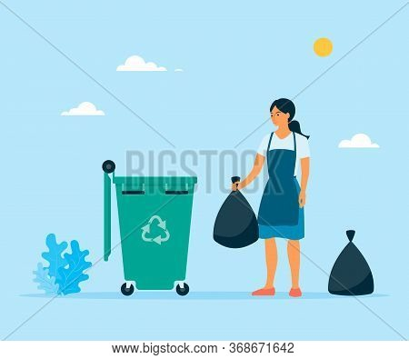 Vector Flat Woman Throwing Garbage In Dustbin. Illustration Of Sorting Waste On Neutral Background