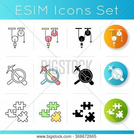 Physical And Life Sciences Icons Set. Formal And Natural Scientific Fields Of Study. Linear, Black A