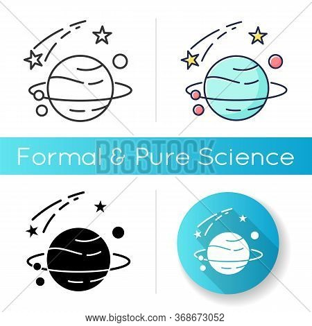 Astronomy Icon. Natural Science, Space Exploration. Linear Black And Rgb Color Styles. Planets Disco