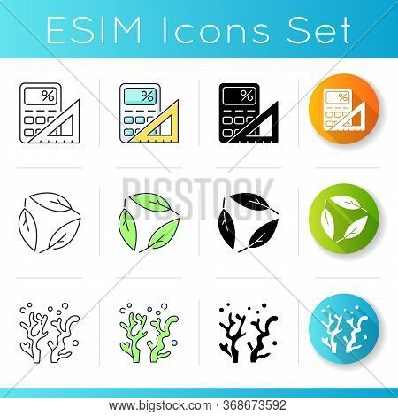Formal And Natural Sciences Icons Set. Different Scientific Fields Of Study. Linear, Black And Rgb C