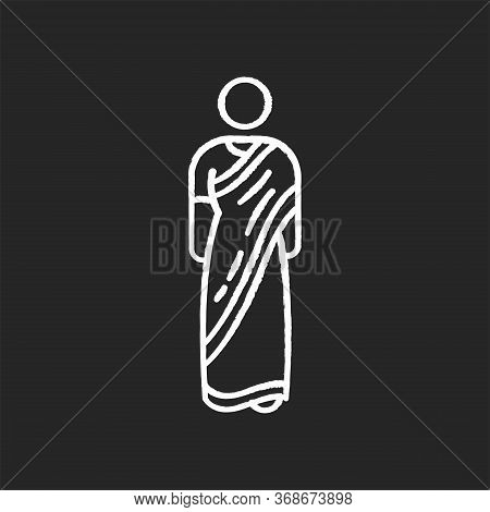 Sari Chalk White Icon On Black Background. Traditional Hindu Clothing. National Indian Clothes. Wome