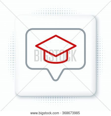 Line Graduation Cap In Speech Bubble Icon Isolated On White Background. Graduation Hat With Tassel I