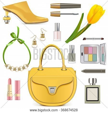 Vector Spring Female Accessories Set 3 Isolated On White Background