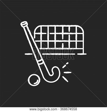 Field Hockey Chalk White Icon On Black Background. Indian National Game. Active Pastime. Team Sport.