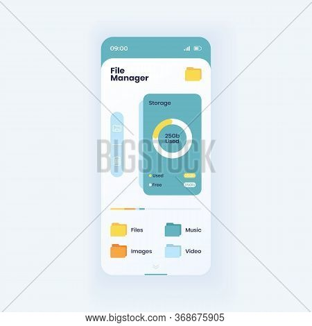 Memory Storage Info Smartphone Interface Vector Template. File Manager App Page Light Design Layout.