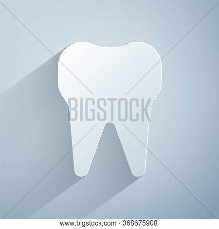 Paper Cut Tooth Icon Isolated On Grey Background. Tooth Symbol For Dentistry Clinic Or Dentist Medic