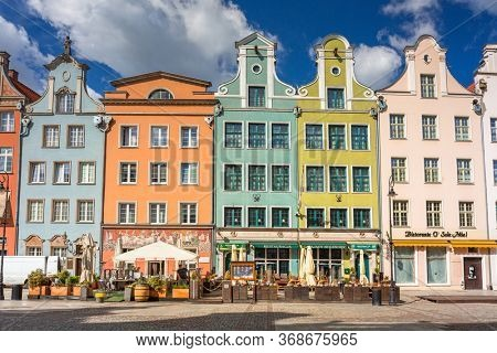 Gdansk, Poland - May 7, 2020: Architecture of the old town in Gdansk, Poland. Gdansk is the historical capital of Polish Pomerania with medieval old town architecture.