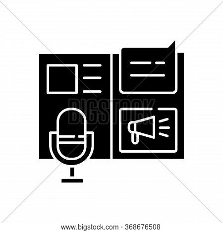 Press Release Black Glyph Icon. Promotion Through Announcement. Public Relation. Journalism In Socia