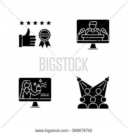 Corporate Identity Black Glyph Icons Set On White Space. Brand Ambassador. Corporate Identity. Clien