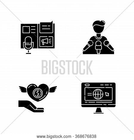 Public Relation Black Glyph Icons Set On White Space. Advertorial Press Release. Spokesperson With M