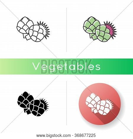 Artichoke Icon. Fresh Vegetable To Cook Nutrient Recipe. Raw Vegetable For Healthy Dieting. Whole Ve