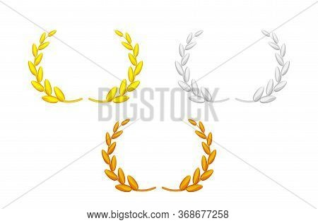 Laurel Wreath Gold Silver And Copper Set Isolated On White, Circle Frame Golden Laurel Wreath Symbol