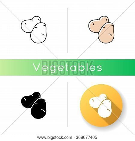 Potato Icon. Fresh Vegetable To Prepare Snack. Foodstuff From Grocery Store. Farmer Market Product.