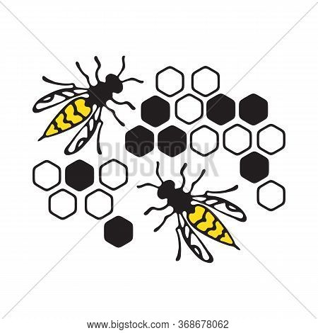 Wasps Or Honeybee With Honeycomb.  Hand Drawn Style. Design Element For Flyer, Leaflet, Sticker, Boo