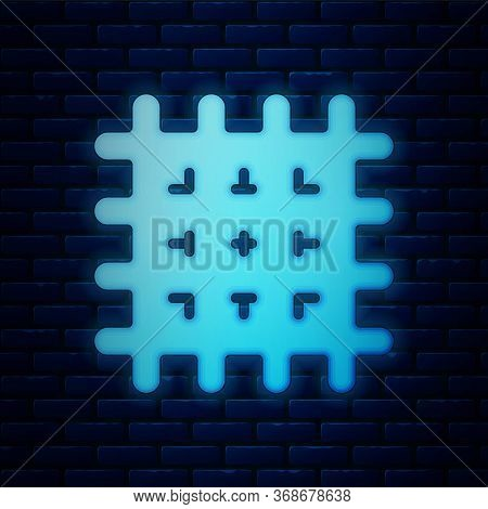 Glowing Neon Cracker Biscuit Icon Isolated On Brick Wall Background. Sweet Cookie. Vector.