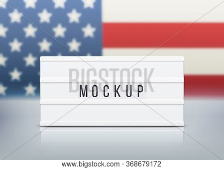Mockup For Elections, Memorial Day, 4th Of July Or Labour Day. White Lightbox With Customizable Desi