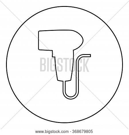 Hand Scanner Barcode Held Icon In Circle Round Outline Black Color Vector Illustration Flat Style Si