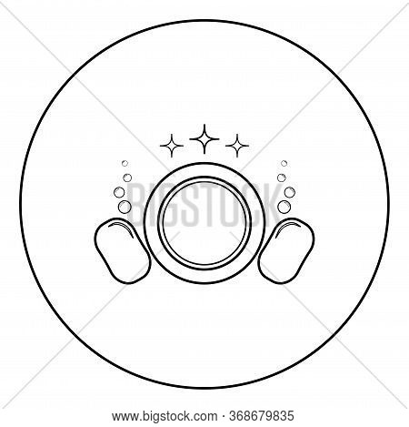 Dishwashing Concept Clearing Dishes Plate Washcloth Sponge Bubbles Clean Kitchen Idea Icon In Circle