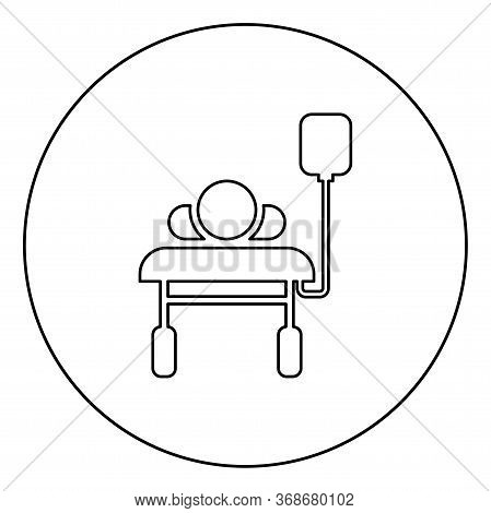Patient Lying On Medical Bed Couch With Dropper Man With Dropping Bottle Emergency Therapy Concept I
