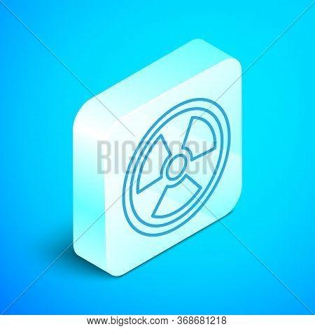 Isometric Line Radioactive Icon Isolated On Blue Background. Radioactive Toxic Symbol. Radiation Haz