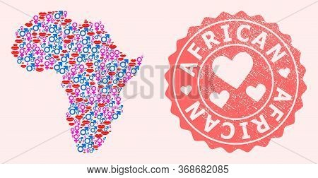 Vector Combination Of Love Smile Map Of Africa And Red Grunge Seal With Heart. Map Of Africa Collage
