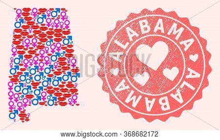 Vector Collage Of Love Smile Map Of Alabama State And Red Grunge Seal Stamp With Heart. Map Of Alaba