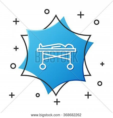 White Line Dead Body In The Morgue Icon Isolated On White Background. Blue Hexagon Button. Vector.