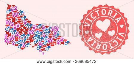 Vector Collage Of Love Smile Map Of Australian Victoria And Red Grunge Stamp With Heart. Map Of Aust