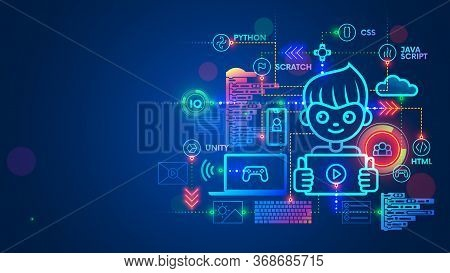 Kid Programmer Learn Coding On Computer, Tablet Or Phone. Child Create Code Or Program Of Game On Pr