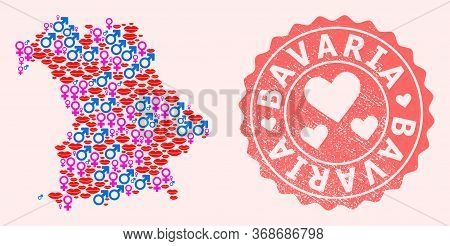 Vector Collage Of Sexy Smile Map Of Bavaria State And Red Grunge Seal With Heart. Map Of Bavaria Sta