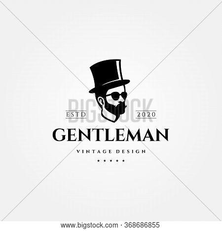 Gentleman Vintage Logo Man With Hat Vector Illustration Design