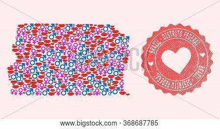 Vector Collage Of Sexy Smile Map Of Brazil - Distrito Federal And Red Grunge Stamp With Heart. Map O