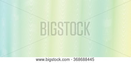 Yellow, Green Striped Guilloche. Soft Gradient. Undulating Lines. Subtle Curves. Vector Abstract Bac