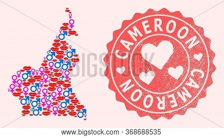 Vector Collage Of Love Smile Map Of Cameroon And Red Grunge Seal With Heart. Map Of Cameroon Collage