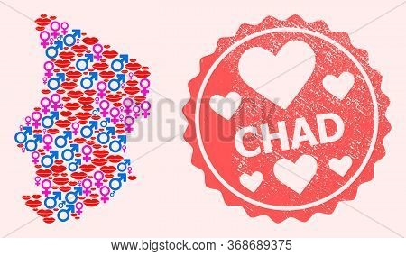 Vector Collage Of Love Smile Map Of Chad And Red Grunge Stamp With Heart. Map Of Chad Collage Formed